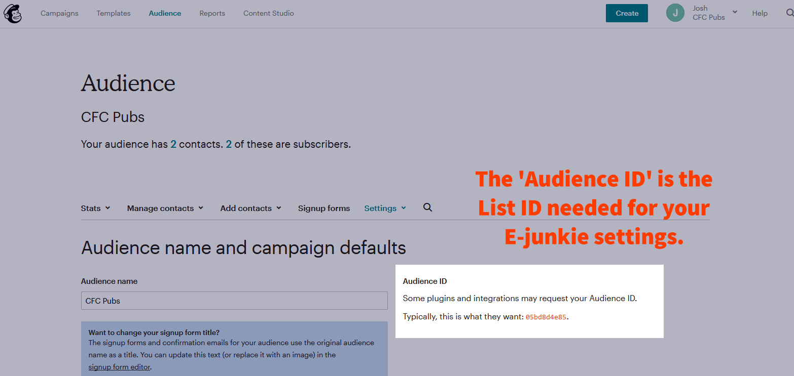 Integrate E-junkie with Mailchimp